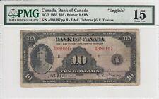 """CANADA $10 DOLLARS 1935 OSBORNE-TOWERS BC-7 """"ENGLISH"""" A980197 - PMG 15 CH FINE"""