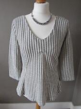 NEXT Ladies Cream & Black Thick Jersey Textured V Neck Top Zip Back Size 12 VGC
