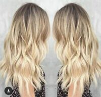 Ombre Balayage Brazilian 100% Real Human Hair Wigs Wavy Blonde Charm Fashion Wig