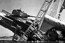 New 5x7 Korean War - Conflict Photo: Wrecked North Korean Tank on Bridge, Suwon