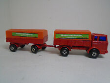 MATCHBOX #1F-2E SUPERFAST  MERCEDES TRUCK &TRAILER RED W/ORANGE TOPS XLNT