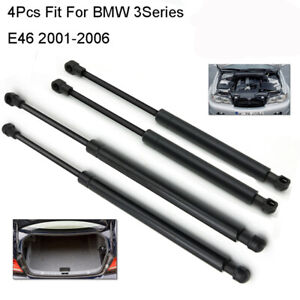 Qty4 For BMW 3 Series E46 Bonnet Gas Struts Rear Lift Supports Shock Tailgates