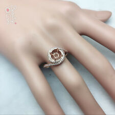 8mm Round Cut Solid 14Kt Rose Gold Natural Diamond Semi Mount Ring Hot Sale