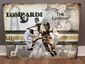 Lombardi Packers Decor Sign Starr Hornung Green Bay Tin Tacker Advertising