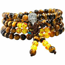 108 Prayer Beads Stone Mala Bracelet Tibetan Buddhist A-Tiger's Eye & Amber Bead