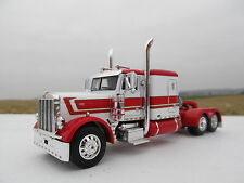 "DCP 1/64 SCALE PETERBILT 379 60"" BUNK WHITE /RED TOP, FENDERS, AND STRIPE"