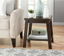 Logan Side Table Living Room Open Shelf End Tables Brown Espresso Wood Finish