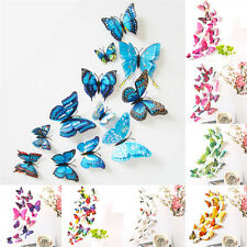 12pcs 3D Simulation Butterfly Decal Home Decor Wall Mural Stickers with Magnet