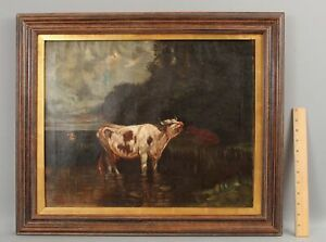 1917 Antique Signed American Country Cow Cattle Bucolic Landscape Oil Painting