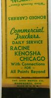 Commercial Trickers Daily Service Racine Kenosha Chicago Vintage Matchbook Cover