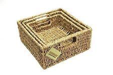 WoodLuv Set of 3 Square Storage Seagrass Basket E01 102setof3