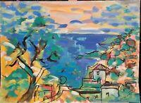 """André TELLIER  - """""""" Ramatuelle """" grande GOUACHE vers 1950/60"""