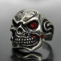 Men's Silver Stainless Steel Skull Ruby Red CZ Eye Cigar Biker Ring Rock Punk