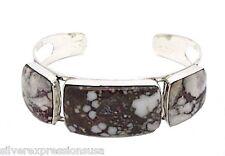 Genuine Wild Horse Gemstone 925 Sterling Silver Southwestern Cuff Bracelet
