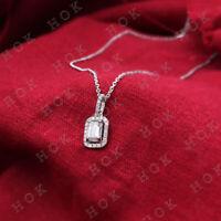 """1.80 Ct Emerald Cut Diamond Halo Pendant W/18"""" Chain 14k White Gold Over"""