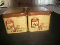 (2) Vintage Tin Canisters~Chein Co~Brown Retro Kitchen TEA & COFFEE CANISTERS