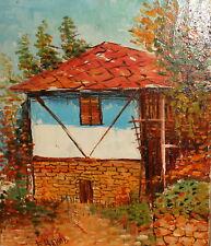 Vintage impressionist oil painting landscape house signed