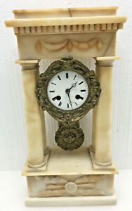 Antique French Empire Dore Bronze And Marble Portico Mantel Clock