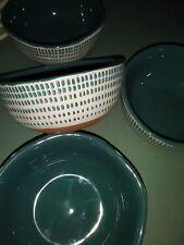 "Lot/4 Hearth & Hand/Magnolia 4"" Bowls-Dessert-Teal Blue Stitch Pattern-Ret/HTF!"