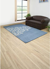 Coastal Blue 4X4 Feet Square Hand Tufted Transitional Wool and Viscose Carpet