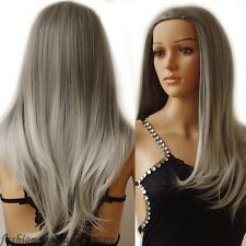 US Ladies Wig 3/4 Wig Cap Hair Nets Half Wigs Ombre Hairpiece Long Straight Wavy
