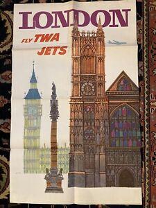 Original Vintage Poster London - FLY TWA Airline Travel DAVID KLEIN '60s MCM