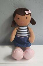 Carters Plush Doll Baby Lovey Brunette Brown Skin Hair Navy Stripe Dress 66750