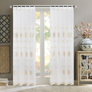 A pair Embroidered Sheer Window tab top Curtains Window Voile Panels 140X290CM