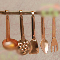 1:12 Scale Kitchen Room Copper Cooking Tools Set for Miniature Dollhouse Metal