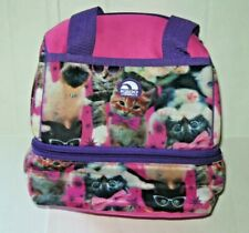 Igloo Girl's Lunch Bag Pink w/Purple Cat/Kitten Print