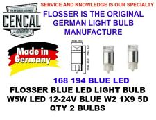 FLOSSER BLUE LED LIGHT BULBS QTY2 W5W LED 12-24V BLUE W2 1X9 5D 194 168  914293