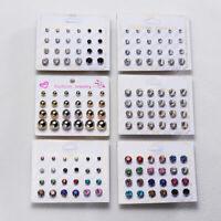 12Pairs Crystal Zircon Stainless Steel Earrings Ear Stud Sets Women Girl Jewelry