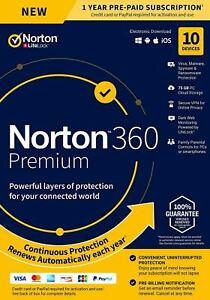 Norton 360 Premium 2021 10 Devices 1 Year Secure VPN Internet Security - Emailed