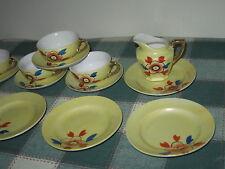 14pc Yellow Orange Blossom Child's Tea Set Japan 4 Cups Saucers 5 Plates Creamer
