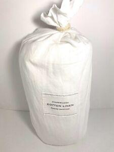 Restoration Hardware Stonewashed White Cotton Linen Full/Queen Duvet Cover NEW
