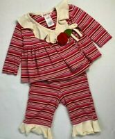 Baby Nay Girls 3 Months Pink and Red Striped Ruffled Wrap Top and Pants Set