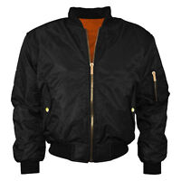 New Womens Ladies Plus Size MA1 Bomber Padded Jacket Vintage Zip Up Biker 8 24