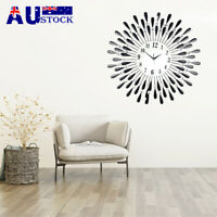 60X60cm Modern 3D Crystal Wall Clock Luxury Art Dial Metal Round Decor +battery