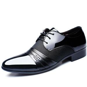 Business Men Lace Up Shoe Patent Leather Patchwork Formal Dress Suit Oxfords New