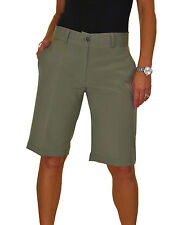 NEW (1492-5) Smart Casual Washable Tailored Shorts Khaki Green 8-22