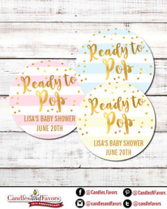Ready To Pop® Round Personalized Baby Shower Sticker Labels | Pastel Color Gold