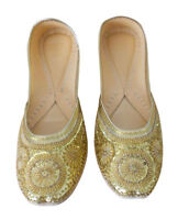 Women Shoes Golden Handmade Jutties Leather Oxfords Indian UK 1.5-9.5 EU 35-44