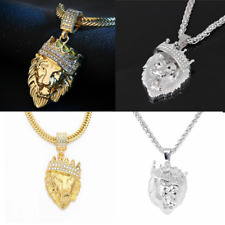 """Men's Stainless Steel Lion Necklace 30"""" Chain 18k Gold or 925 Silver Plated Hot"""