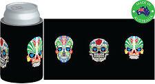 6xDesigner Beer Can STUBBY HOLDER Stubbie Cooler Koozie with Skull Mask black
