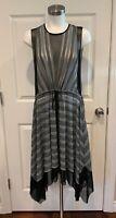 BCBG Max Azria Black, Gray, & Metallic Asymmetrical Dress, Size Small, NWT! $228