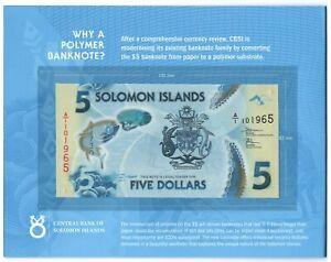 Solomon Islands 5 Dollars 2019 UNC Polymer note in FOLDER