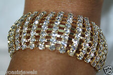 Huge Rhinestone Bracelet Drag Queen Dancer Pageant 8 Row Austrian Crystal