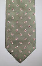 NWT Luciano Barbera Paisley Silk Tie Handmade Italy Macclesfield Light Green