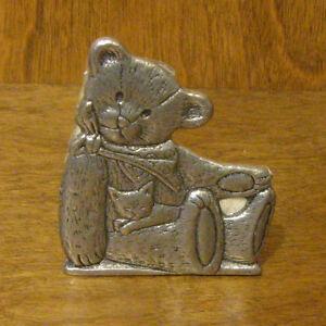 CARSON STATESMETAL TEDDY BEAR MINI LITE CANDLE HOLDER, #1382 MADE IN USA