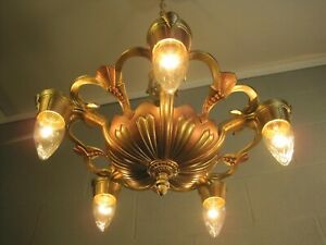 Chandelier Art Deco Antique 5 Light Restored 30's Metallic Copper Gold Finishes